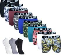 Kit 12 cuecas boxer adulto microfibra forradas e 12 pares de meias curtas cores variadas - Fluir