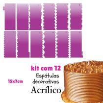 Kit 12 espátulas decorativas para bolo 15x7 cm confeitaria  es1 - Confeitaria Dos Moldes