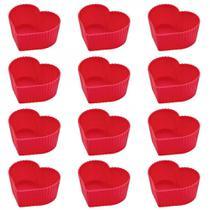 Kit 12 Forminhas de Silicone para Cupcake e Muffin Cores Sortidas Formato de Coracao  Mor -