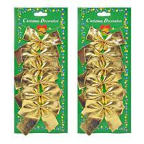 Kit 12 Laço Decorativo Plástico Para Natal Árvore Dourado - Imp
