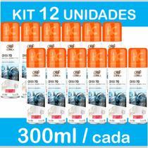 Kit 12 Latas Álcool 70 Spray 300ml - Aerossol para Higienização - Orbi