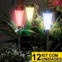 Kit 12 Luminária Solar jardim led colorido verde azul amarelo pvc balizador - Ecoforce