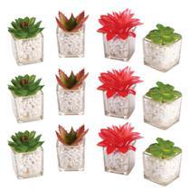 Kit 12 Mini Planta Flor Artificial Suculenta Atacado Vaso Vidro Casa Decoração Ambientes - Mundiart