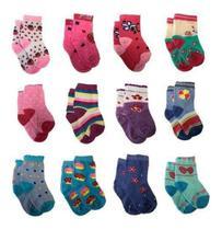 Kit 12 Pares Meia Infantil Bebê Menina 0-6 Meses Coloridas - Socks