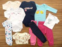 Kit 12 Pçs Body Longo, Curto, Calça Bebê Recém Nascido Meninas - Baby Bird