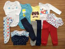 Kit 12 Pçs Body Longo, Curto, Calça Bebê Recém Nascido Meninos - Baby Bird