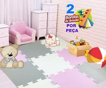 Kit 12 Pçs Tapete De Eva Tatame Cinza Rosa Branco Infantil 50x50x1cm - Yupitoys max