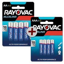 Kit 12 Pilhas AA Pequena + 12 AAA Palito Alcalina Rayovac -