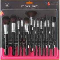 Kit 12 Pincéis Macrilan Maquiagem Pincel Profissional Kp9-1a Preto Cerdas macias sintéticas -