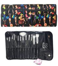 Kit 12 Pincéis Para Maquiagem + Necessaire Macrilan KP1-5B Estampa Fashion Preta - PRETA -