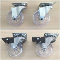 Kit 12 Rodizio Roda 50mm Gel Base Girat. 4 Com Freio + 8 Sem - Fgv Tn