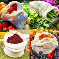 Kit 12 Saco Reutilizável Algodão De Malha Para Feira Frutas - Gonzattoimports