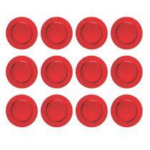 Kit 12 Sousplats Redondos em Polipropileno Vermelho Liso 33cm Mesa Posta Decoração de Festa - Mundiart