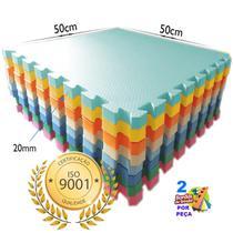 Kit 12 - Tapete Tatame Eva De Encaixe Colorido Infantil - 50x50 20mm - Yupitoys - Yupitoysmax