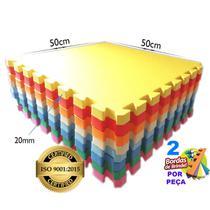 Kit 12 - Tapete Tatame Eva De Encaixe Colorido Infantil ISO - 50x50 20mm - Yupitoys - Yupitoysmax