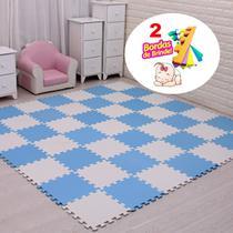 Kit 12 Tatame Tapete Eva azul e cinza Bebe Infantil 50X50cm Menino - Yupitoys max