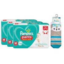 Kit 126 Fraldas Pampers Pants Ajuste Total Mega Tamanho M + Meia Pampers Puket Gato -