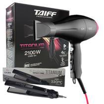 Kit 127v - secador taiff titanium colors pink 2100w + prancha gama infinity one titanium 220c bvt -