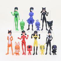 Kit 14 Bonecos Personagens Ladybug Miraculous Catnoir - Super25