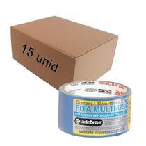 Kit 15 Fitas Adesivas Reforçada Silver Tape Azul 48mm x 5m - Adelbras