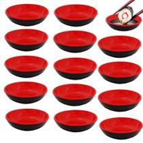 Kit 15 Mini Tigelas Redonda Molheira 70 Ml para Shoyu em Melamina Vermelho  Unicasa -