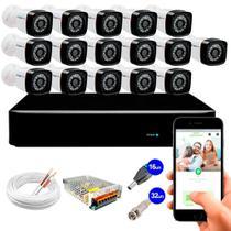 Kit 16 Câmeras de Segurança 20m Infravermelho HD 720p + HVR GS0086 DVR 16 Canais Giga Security -
