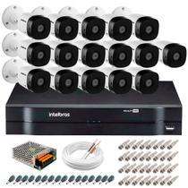 Kit 16 Câmeras de Segurança HD 720p Intelbras VHD 3130 B G4 + DVR Intelbras Multi HD + Acessórios -