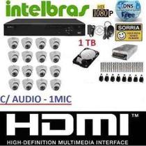Kit 16 Cameras Infra Dome Ahd Dvr 16 Canais Intelbras Hd 1tb - Dvr Intelbrás