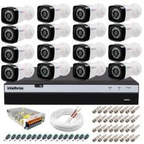 Kit 16 Câmeras Segurança Full HD 1080p 20m Infravermelho + DVR Intelbras + App Monitoramento + Fonte -