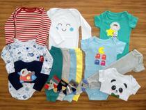 Kit 16 Pçs Body Macacão Calça Bebê Recém Nascido Meninos - Baby Bird