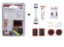 Kit 16 Peças para Reparo de Pneu de Bicicleta + Chave Bola/Boca - Wellmix