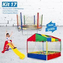 KIT 17 - Piscina 2x2m com 2.000 Bolinhas  + Cama Elástica 2,44m + Escorregador Médio - Lacuca Brinquedos