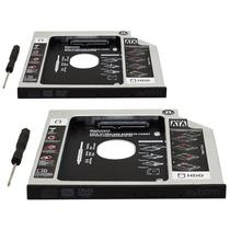 Kit 2 Adaptador Caddy Drive Dvd 9.5mm para HD Sata e SSD 2,5 Notebook Case Gaveta Exbom HDCA-S095