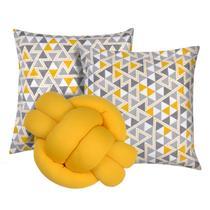 Kit 2 Almofadas Decorativas cheias mais Almofada Nó Amarelo - Casahome