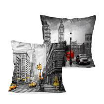Kit 2 Almofadas Decorativas Londres e NY - Lar Doce Lar Decor