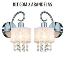 Kit 2 Arandela Cabeceira de Cristal e Cúpula Seda Branco Sirius - Bella Light