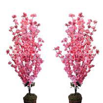 Kit 2 Arvore Artificial Cerejeira Rosa 1 Metro Decoração Sala - Flores Artificiais Decoração Casamento