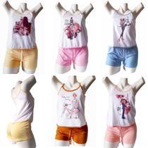 kit 2 Baby Dool Pijama Feminino Adulto Blusinha Regata Alça E Short - Sonho Meu