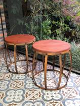 KIt 2 Bancos Barril em Ferro - Banqueta Puff - Mesa - Seat Garden - Industrial - Arte & Decora