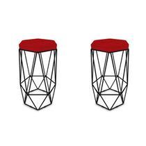 Kit 2 Banquetas Aramado Hexagonal Base de Ferro Preta Suede Vermelho - Sheep Estofados -