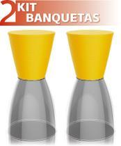 Kit 2 banquetas nobe assento color base cristal amarelo - IM In