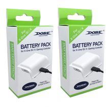 Kit 2 Bateria Branca Cabo Carregador Controle Xbox One (S)/X - Dobe