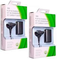 Kit 2 Bateria Carregador Controle Xbox 360 Recarregavel - X-Zhang