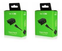 Kit 2 Bateria Recarregável E Cabo Usb Para Controle Xbox One PRETO - Fly Ace.