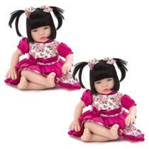 Kit 2 Bebe Reborn Baby Kiss Morena Chupeta Magnetica - Sid Nyl