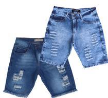 Kit 2 Bermudas Shorts Jeans Plus Size Rasgada Tamanho Especial Grande 50 52 54 56 - Daze Modas