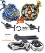 Kit 2 Beyblade Burst + 4 Lançadores Valtryek Vs Zilion Zeutron Tornado Gyro - Td
