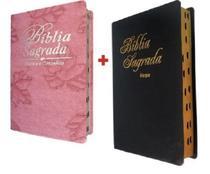 Kit 2 Biblia Sagrada Letra Grande Com Harpa Índice Lateral - King Croos