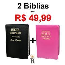 Kit 2 Bíblias Sagrada Letra Gigante C/ Harpa - Luxo - Preta e Pink - Tam - 14x21 cm - Rei Das Biblias