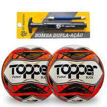 Kit 2 Bolas de Futsal Topper Slick e 1 Bomba -